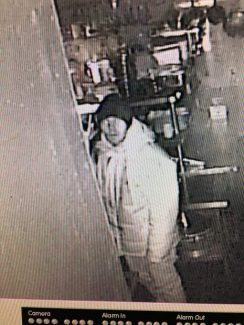 Surveillance cameras at the Brick Pony bar and restaurant in Basalt captured this image of a man suspected of burglarizing the business and taking a bank bag off the bar.