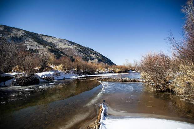 A beaver dam in progress on the Roaring Fork River in the North Star Nature Preserve in Aspen on Friday.