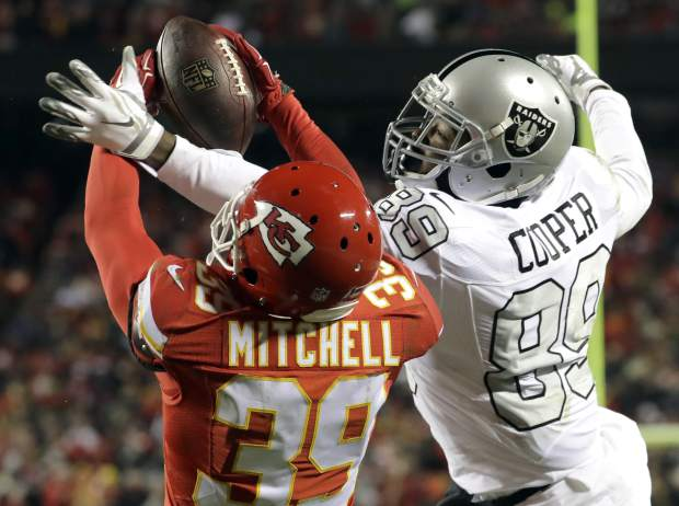 Kansas City Chiefs defensive back Keith McGill II (39) nearly intercepts a pass intended for Oakland Raiders wide receiver Amari Cooper (89) during the first half of an NFL football game in Kansas City, Mo., Thursday, Dec. 8, 2016. The pass was incomplete. (AP Photo/Charlie Riedel)