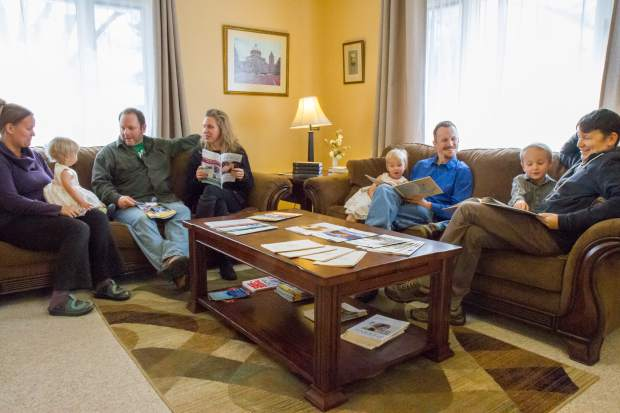 Joel Belmont (blue) and members of the Christian Science Church spend the afternoon reading together at the church in Glenwood Springs.