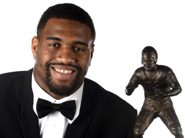 Alabama defensive end Jonathan Allen won the 2016 Bronko Nagurski Trophy, presented at the Charlotte Convention Center in Charlotte, NC on Monday, Dec. 5, 2016. The Bronko Nagurski Trophy is presented annually to the nation's top NCAA defensive football player. ( Jeff Siner/The Charlotte Observer via AP)