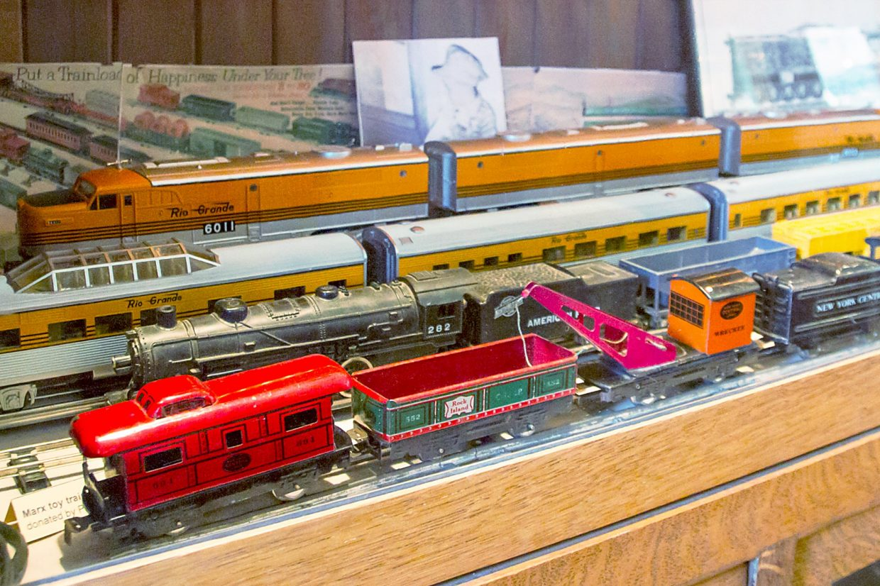 The rail museum has multiple version of antique toy trains on display.