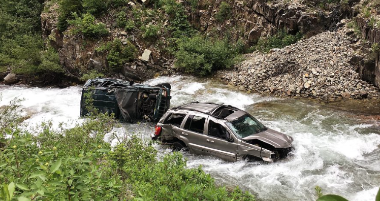 These two Jeeps tumbled 130 feet into the North Fork of the Crystal River last summer.