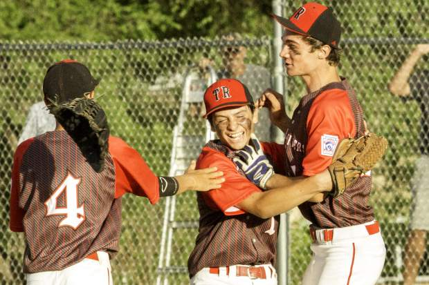 Team members of the Three Rivers Little League junior all-star team celebrated after winning the state championship for 13-15 year olds in July.