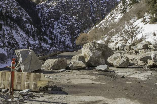 The westbound lanes of I-70 in Glenwood Canyon were completely blocked by SUV size boulders. CDOT worked for at least a week to clear the boulders to open one lane of traffic and begin using a pilot car to help usher traffic through the canyon on one lane.