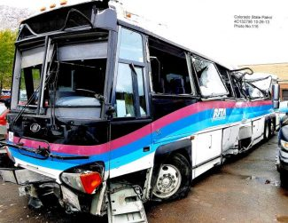 The RFTA bus that crashed near El Jebel in October 2013, ejecting six passengers on to Highway 82. RFTA settled claims with all plaintiffs in the case Tuesday.