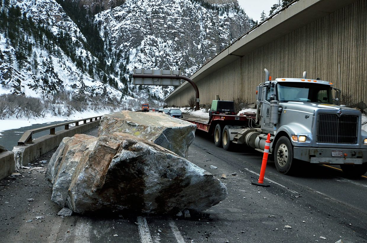 Boulders tumbled from the north rim of Glenwood Canyon on Feb. 15, rolling over the westbound lane onto the lower eastbound lane. At least one boulder even had enough velocity to be launched onto the southern bank of the Colorado River.