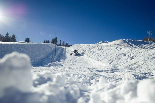 It takes up to 400 hours of work by snowcats to get the super piple at Buttermilk prepared for the season.