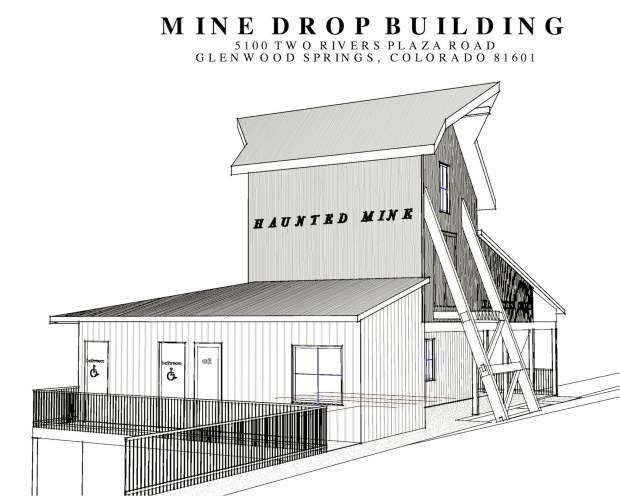 A rendering of the planned Haunted Mine Drop building at the Glenwood Caverns Adventure Park.