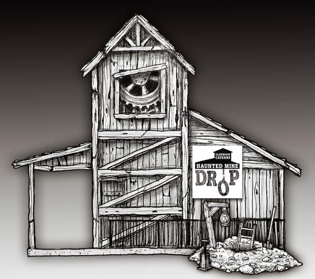 A conceptual drawing for the new Haunted Mine Drop ride.