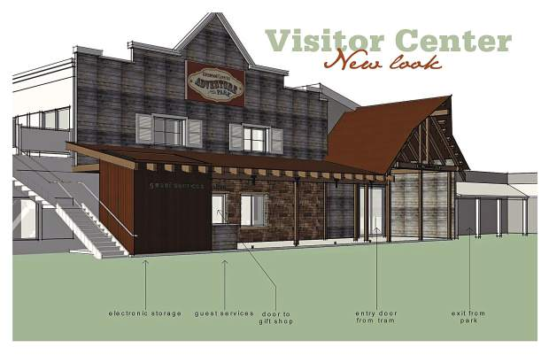 A rendering of the new Western-themed facade at the main Glenwood Caverns Adventure Park visitor center, gift shop, restaurant and theater building.
