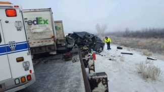 Accident involving three semis and four passenger vehicles on I-70 near Loma.
