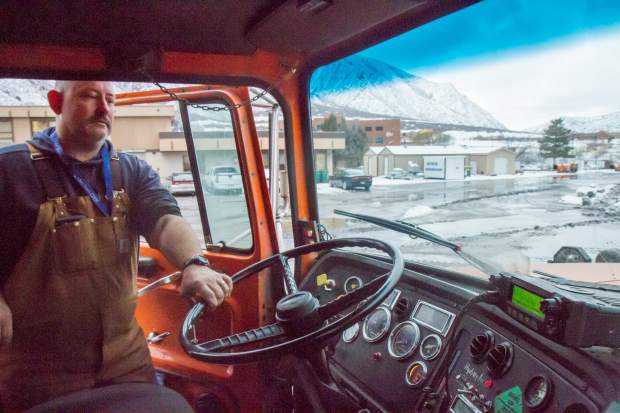 CDOT transfer maintenance worker Chris Craywood begins his night shift clearing and maintaining interstate 70 between Glenwood Springs and New Castle.