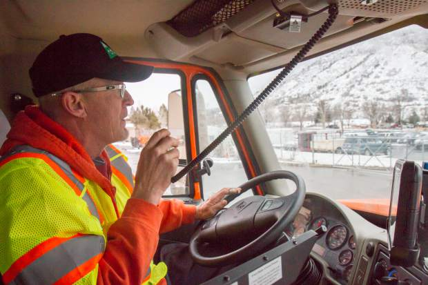 CDOT crew leader David Sorensen works to keep Interstate 70 clear through Glenwood Canyon near Glenwood Springs, CO after a recent snowstorm.
