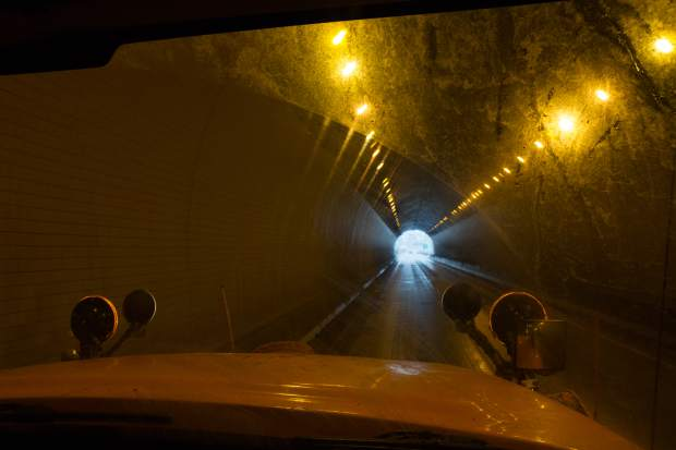Crews often find that one side of the tunnels in Glenwood Canyon will be completely clear, with snow or ice on the other side.
