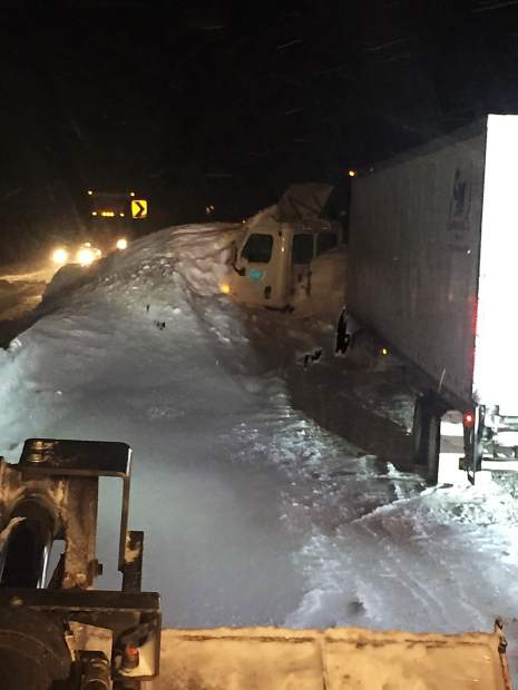 This tractor-trailer rig slammed into an avalanche that hit the Narrows section of westbound Interstate 70 over Vail Pass just before 3 a.m. Tuesday. The driver wasn't injured in the slide, which closed the highway until Tuesday afternoon.