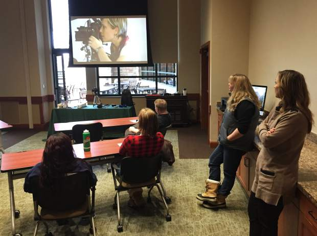 Students in the Youth Recovery Center at Valley View take a photography class, one of the many activities offered as part of the program, as Angie Crooks, recreation and art therapist, and Janeil Sowards, clinical supervisor and incoming interim program director, look on.