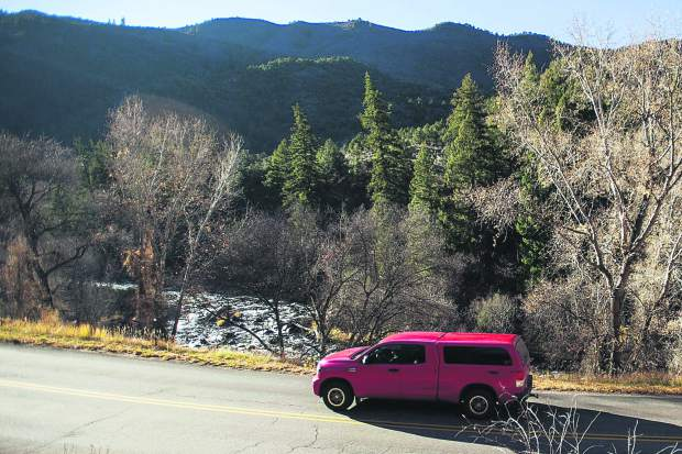 Traffic on Frying Pan Road picks up in the summer with bicyclists and motorists pursuing recreational opportunities. The Forest Service will assess how to limit logging trucks in the mix.
