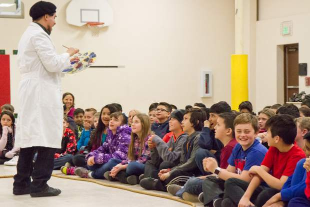 Gustavo Marquez performs for the fourth and fifth grade classes at Glenwood Springs Elementary School during an anti-bullying outreach program put on by CU Boulder.