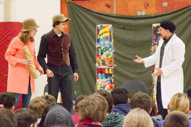 Anastasia Davidson, Jihad Milhem and Gustavo Marquez perform Shakespeare's Comedy of Errors for the fourth and fifth grade classes at Glenwood Springs Elementary School. The show recast Shakespeare's Antipholus as a female, Antiphola, and most of Marquez's lines were in Spanish.