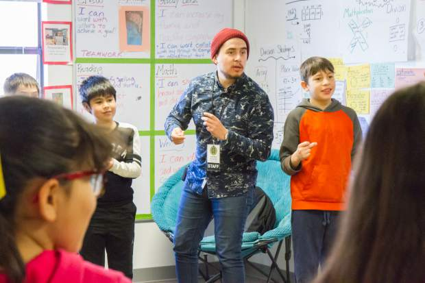 "During the Shakespeare and Violence Prevention workshop in Julie Allen's fourth-grade class, Gustavo Marquez asked the students for rules that would help them feel safe trying something new. ""One of the things we talk about a lot, fourth graders, in our learning is taking risks,"" Allen said. A student added another ground rule: ""Treat each other with kindness."""