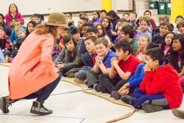 Anastasia Davidson performs for the fourth and fifth grade classes at Glenwood Springs Elementary School during an anti-bullying outreach program by Colorado Shakespeare Festival.