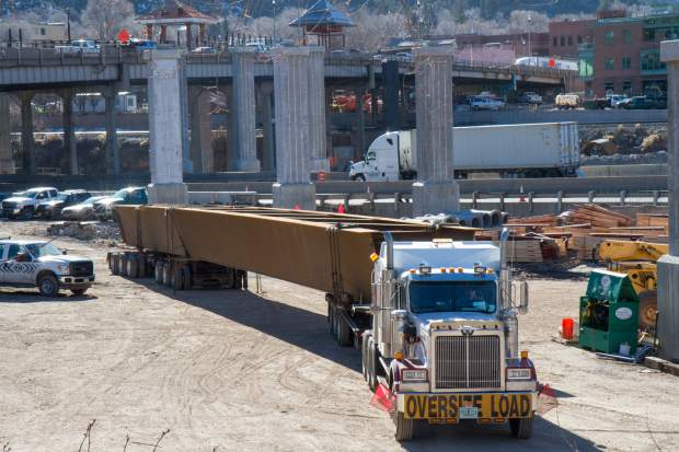 Giant steel girders for the new Grand Avenue traffic bridge have started arriving from Utah and Texas. Crews worked throughout the day Thursday to begin placing the girders for the north end of the bridge. Traffic impacts will start Monday evening as crews begin putting the girders into place over Interstate 70. During this time traffic will be detoured from I-70 to Sixth Street.
