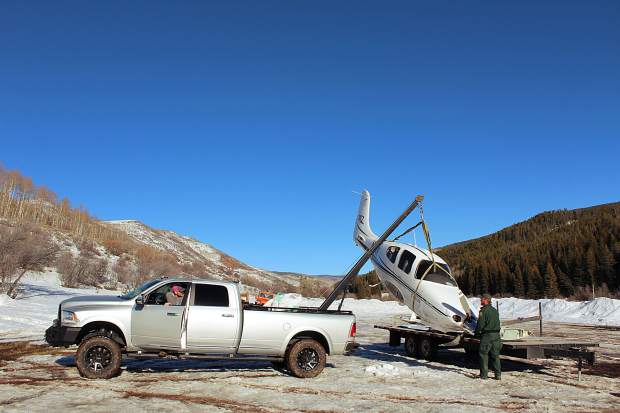 A planewas flown out by helicopter after crashing in the Flat Tops Wilderness.