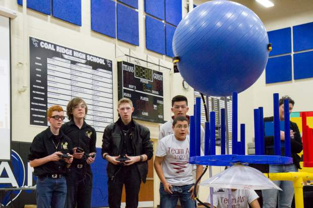 Teams compete in the FIRST Tech Challenge robotics competition at Coal Ridge HIgh school on Saturday.