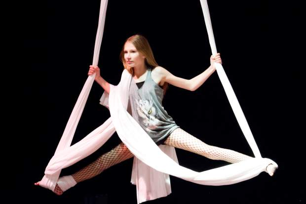 Grace Ferguson of Sopris Soarers performs an aerial silk dance.