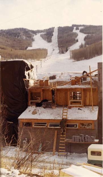 The Sunlight base lodge under construction in fall 1966.