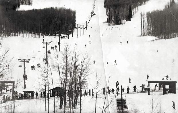 A view circa late 1960s from the base of what was known for the first three decades as Ski Sunlight.