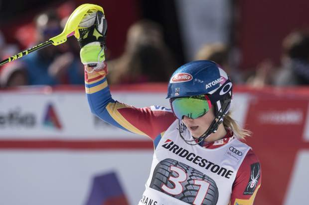 Mikaela Shiffrin of the US reacts in the finish area during the women's alpine combined Slalom race at the Alpine Skiing World Cup in Crans-Montana, Switzerland, Sunday, Feb. 26, 2017. (Alessandro della Valle/Keystone via AP)