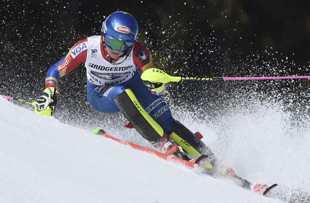 United States's Mikaela Shiffrin competes in an alpine ski, women's World Cup combined race, in Crans Montana, Switzerland, Sunday, Feb. 26, 2017. (AP Photo/Marco Tacca)