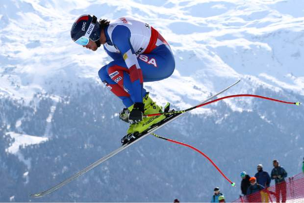 United States' Bryce Bennett competes during a men's downhill race, at the alpine ski World Championships in St. Moritz, Switzerland, Sunday, Feb.12, 2017. (AP Photo/Alessandro Trovati)