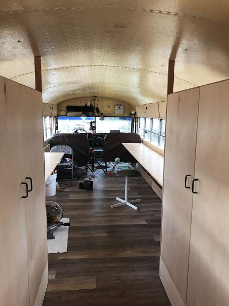 Rosybelle, Carbondale Arts' mobile maker space, is nearing completion. The bus will soon be painted with bright colors, both inside and out. It's expected to be in service by April.