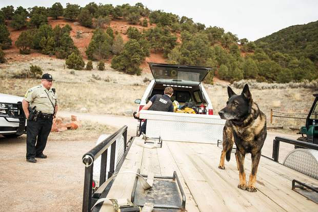 Sgt. J. Shuckers of Garfield County and 9-year-old K9 Falcos at the Arbaney Kittle Trail protecting the perimeter of a manhunt on Tuesday for two men suspected of an armed robbery in Carbondale last week.