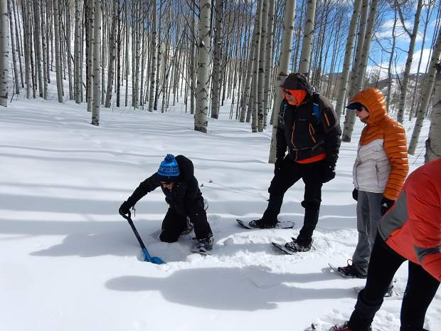 Liza Mitchell of the Roaring Fork Conservancy digs a snow pit at the summit of McClure Pass on Sunday to help students in a workshop look for clues on the snowpack composition.