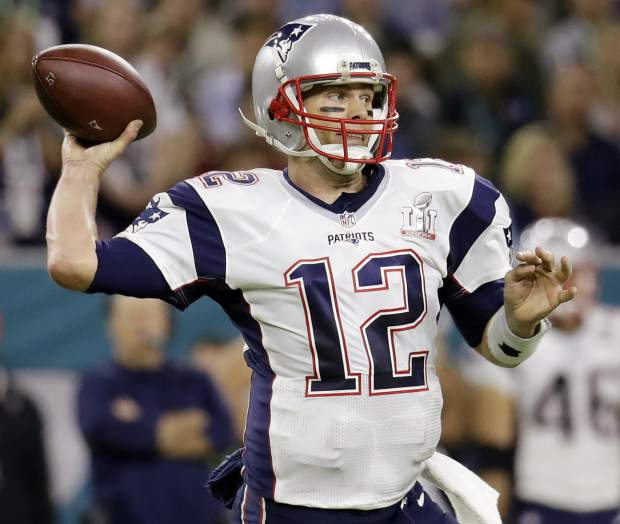 FILE - In this Feb. 5, 2017 file photo, New England Patriots quarterback Tom Brady prepares to pass against the Atlanta Falcons during the first half of the NFL Super Bowl 51 football game in Houston. Tom Brady's missing jersey from the Super Bowl has been found in the possession of a member of the international media. The NFL said in a statement Monday, March 20, 2017, that his jersey was found through the