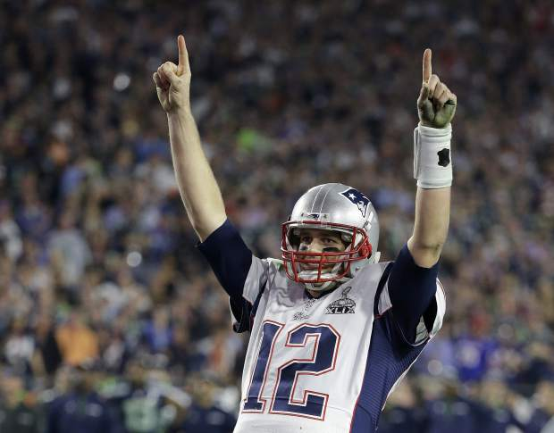 FILE - In this Feb. 1, 2015, file photo, New England Patriots quarterback Tom Brady (12) celebrates during the second half of NFL Super Bowl XLIX football game against the Seattle Seahawks, in Glendale, Ariz. Brady's missing jersey from the Super Bowl has been found in the possession of a member of the international media. The NFL said in a statement Monday, March 20, 2017, that his jersey was found through the