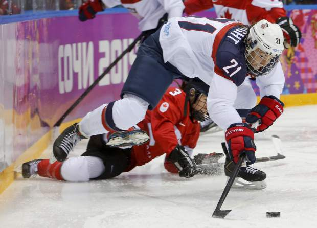 "FILE - In this Feb. 20, 2014, file photo, United States' Hilary Knight passes the puck against Canada during the first period of the women's gold medal ice hockey game at the Winter Olympics in Sochi, Russia. After players threatened Wednesday, March 15, 2017, to boycott the upcoming world hockey championships over a wage dispute, USA Hockey said it will ""field a competitive team"" for the International Ice Hockey Federation Women's World Hockey Championship that begins March 31 in in Plymouth, Mich. ""We're unanimously united as a player pool,"" Knight said. ""Good luck getting a suitable No. 1 competition to represent our country on a world stage. I kind of dare them. It's tough."" (AP Photo/Mark Humphrey, File)"