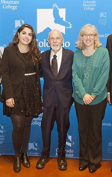 David Delaplane, center, one of the key visionaries behind the launch of Colorado Mountain College, received an honorary membership in the Colorado Mountain College Alumni Hall of Fame at the 2015 induction ceremony with, from left, Yesenia Arreola, Spring Valley alumna (2007); and Amy Jackson, Breckenridge alumna (1999).