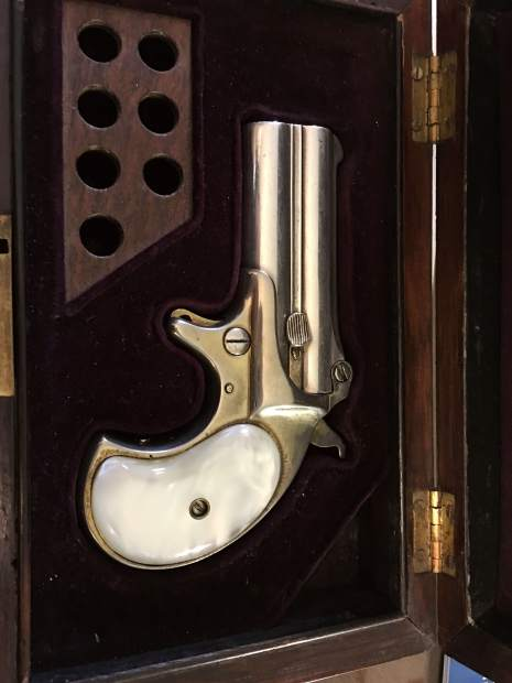This 1866 Remington derringer is said to be one of the few possessions found in Doc Holliday's room after he died.