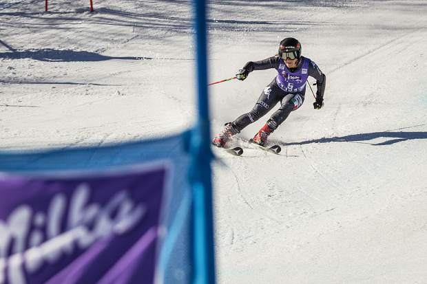 Second place finisher Sofia Goggia powers down the giant slalom course Sunday at World Cup Finals.