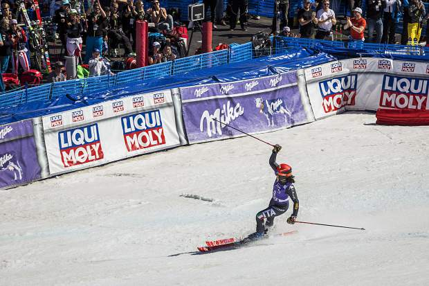 First place finisher Federica Bringnone celebrates at the finish Sunday at World Cup Finals.