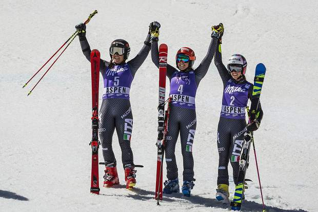 Italy swept the podium during the second women's giant slalom race Sunday at the World Cup Finals.