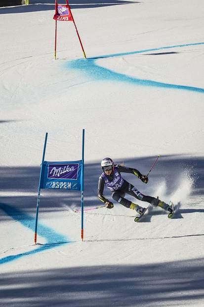 Third place finisher Marta Bassino powers down the giant slalom course Sunday at World Cup Finals.