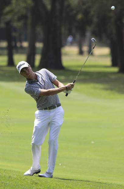 Justin Thomas of the U.S. hits a ball on the 4th hole during the final round of the Mexico Championship at Chapultepec Golf Club in Mexico City, Sunday, March 5, 2017. All but one of the world's top 50 golfers are contesting the World Golf Championship PGA event, which this year relocated to Mexico City from the Trump National Doral Resort in Florida. (AP Photo/Christian Palma)
