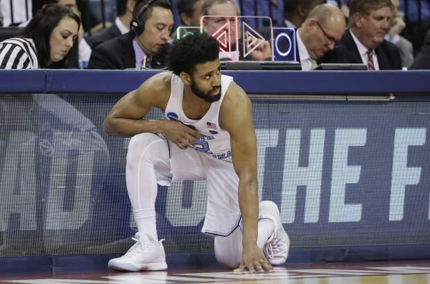 North Carolina guard Joel Berry II (2) waits to enter the game against Kentucky in the first half of the South Regional final game in the NCAA college basketball tournament Sunday, March 26, 2017, in Memphis, Tenn. (AP Photo/Mark Humphrey)
