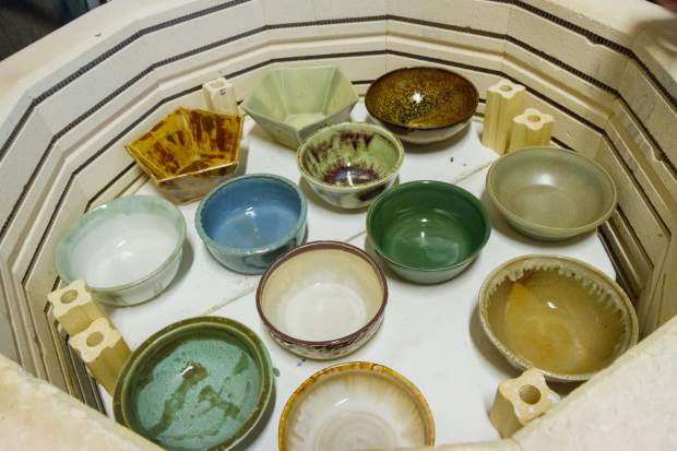 This is only a small portion of the bowls that were made in the ceramics class at the CMC Rifle campus.